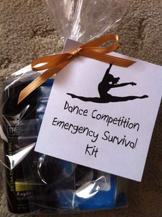 Dance Competition or Dance Recital Emergency Survival Kits - For Dance Competitions & Holiday Gifts! Hire Lai Rupe's Choreography for Competition dance routines, receive professional, place choreography, and gifts for your dancers! Dance Team Gifts, Cheer Dance, Diy Dance Gifts, Dance Good Luck Gifts, Dance Teacher Gifts, Dance Crafts, The Dancer, Dance Tips, Dance Routines