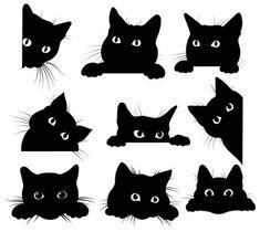 Black Cat Drawing, Black Cat Art, Black Cat Painting, Cute Cat Drawing, Drawing Art, Simple Cat Drawing, Cat Face Drawing, Black Kitty, Cute Black Cats