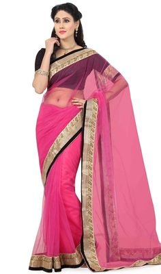 Enhance your beauty with this pink shade net saree. The ethnic lace work over a saree adds a sign of elegance statement with your look. Upon request we can make round front/back neck and short 6 inches sleeves regular sari blouse also. #HeavenlyPinkNetSariDesign