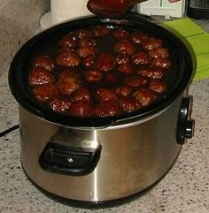 1 jar grape jelly, 1 bottle sweet baby rays bbq sauce, 1 package frozen meatballs. Cook on low for 6 hours.