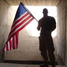 US soldier with flag