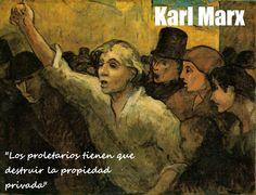 """""""Los proletarios tienen que destruir la propiedad privada"""" Karl. Marx. In quest`'opera di Honore Daumier mostra a un lavoratore con un mano in alto in forma de richiesta per i suoi diritti. In questa citazione dil Manoscritto di Marx possiamo vedere che in questa epoca i lavotari erano schiavi dove lavoravano 6 giorni e moltissimo tempo senza relax."""