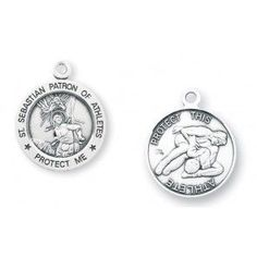 """Saint Sebastian 15/16"""" Round Sterling Silver Wrestling Athlete Medal"""