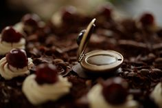 Black Forest Cake - natural solid perfume locket, necklace with Chocolate, Vanilla, Cherry - Sweet, Cocoa, Jasmine - For Strange Women by ForStrangeWomen on Etsy