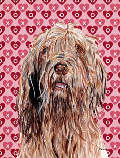 Otterhound Hearts and Love House Vertical Flag