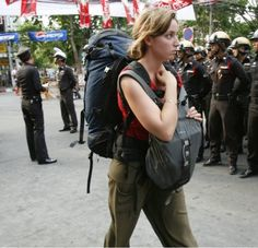 bangkok tourist and police at protes