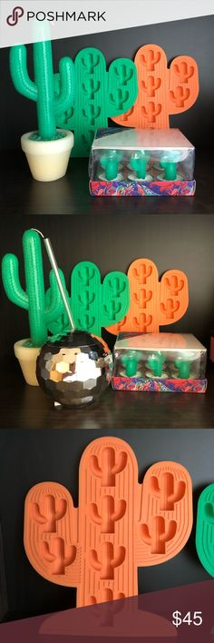 Sunny life cactus decorative items Sunny life large cactus, set of 6 cactus tea lights and two cactus ice trays. (Throwing in the disco ball cup with straw, too!) All of this is brand new, never been used. Other