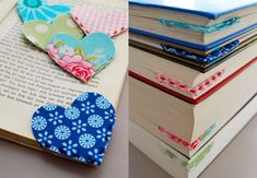 Cute little bookmarks, a loving heart for every one in our family Bookmarks segnalibri marcadores signets Lesezeichen Fabric Crafts, Sewing Crafts, Sewing Projects, Diy Projects, Paper Crafts, Fun Crafts, Diy And Crafts, Crafts For Kids, Teacher Appreciation Gifts