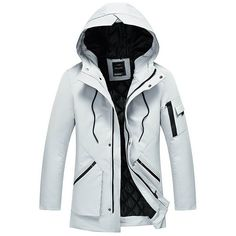Zip Pocket Quilted Winter Hooded Coat ($61) ❤ liked on Polyvore featuring men's fashion, men's clothing, men's outerwear, men's coats, mens quilted coat and mens hooded coat