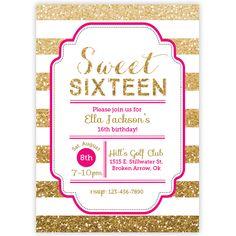 Sweet_Sixteen_Gold_Glitter_Invitation_By_Ellison_Reed.jpg (580×580)