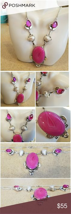 Genuine Pink Agate, Pink Topaz and Pearl Necklace Beautiful Pink Agate stands out on this gorgeous necklace!  Set in 925 stamped Solid Sterling Silver. Please see all pictures for more detail. Brand New. Never Worn.  WHOLESALE Prices Always! Jewelry Necklaces
