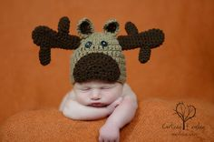 Items similar to Crochet Baby Moose Hat on Etsy