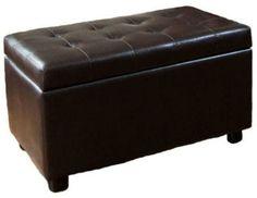 Simpli Home Cosmopolitan Dark Brown Rectangular Faux Leather Storage Ottoman on shopstyle.com