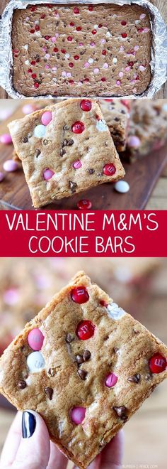 50 minutes · Vegetarian · Makes 18-36 · These M&M's Cookie Bars have become an absolute favorite in our house. I made a Christmas version that has been incredibly popular and I wanted to add a Valentine's Day version as well. These