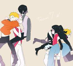 I love how Sasuke and Naruto just look so used to is while Boruto and Mitsuki are like 'wtf' Anime Naruto, Naruto Und Sasuke, Naruto Comic, Naruto Cute, Sakura And Sasuke, Haikyuu Anime, Otaku Anime, Images Kawaii, Funny Naruto Memes
