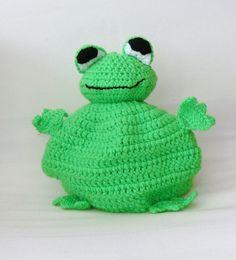 Crochet green frog tea cosy  handmade  by TheFluffyDuck on Etsy, £19.50