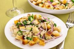 Delicious Crunchy Salad Recipe  Ingredients:White loaf  Chicken  Cheese  Cucumber  Onions  Green salad