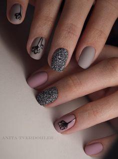 Вечерние ногти, Вечерний дизайн ногтей, Вечерний маникюр, Идеи кофейного маникюра, Кофейные ногти, Кофейный дизайн ногтей, Маникюр на декабрь, Матовые ногти