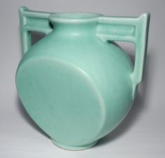 Art Deco Rumrill Red Wing Two Handled Vase Matte Glaze Great Style   eBay