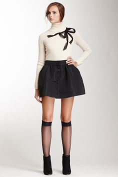 RED Valentino Button Front Skirt-such an adorable outfit for fall, very cute and classic