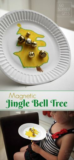 Make a magnetic jingle bell tree - fun science for kids
