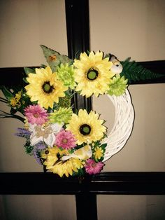 Summer sunflower wreath  Added lots of flowers, birds, wooden buterfly.  More at https://www.facebook.com/Moje-vence-995508700482994/