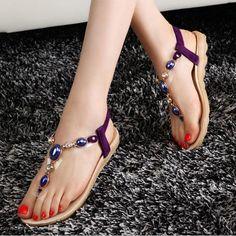 965bb344b403a New Women Flat Jewellery Bead Clip Toe Massage Shoes Sole Sandal Shoes  Women s Shoes Sandals
