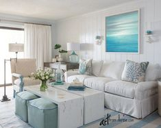Breezy Condo Living Room in Beach Cottage Style Featured on Completely Coastal. Shop the Look of this Delightful Cozy Living Room! - March 16 2019 at Condo Living Room, Beach Living Room, Coastal Living Rooms, Cottage Living Room Small, Blue Living Room Decor, Living Area, Beach Condo Decor, Beach Cottage Decor, Coastal Cottage