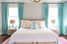 YHL showhouse bedroom. Turquoise, coral, white.  Young House Love - One young family + one old house