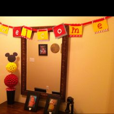 Mickey Mouse Birthday Party- welcome sign and candy topiary