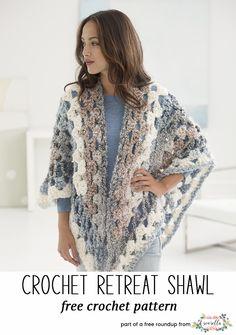 Crochet this easy retreat granny stitch shawl from my stylish crochet shawls free pattern roundup!