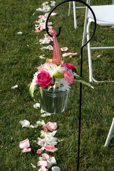 very cute for an outdoor idea..put next to each row of hay bales and have wild flowers! ADORABLE!!!