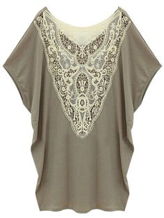 Embroidered Sexy Back Batwing Short Sleeve Women's Tee Shirt on buytrends.com
