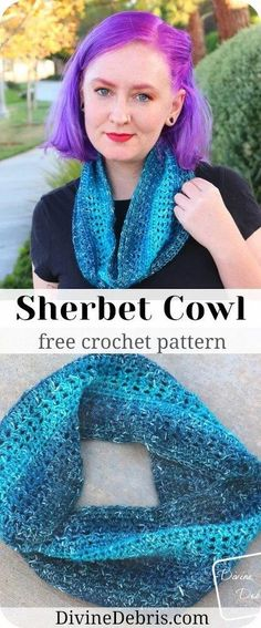 Never be without a quick gift with the fun and easy scarf for every season, the Sherbet Cowl free crochet pattern on DivineDebris.com.
