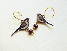 Chickadee Earrings, Shrink Plastic Earrings, Lavender, Cream, Rose Pink, Freshwater Pearls, Shabby Chic, Wearable Art