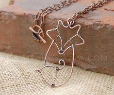 Fox. Fox Necklace. Wire Fox. Copper. by Karismabykarajewelry, $49.00