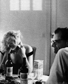 The part after dinner, when you have no place to go and nothing to do,  when you just enjoy each others company, is the defining moment.  - Marilyn Monroe and Arthur Miller, Beverly Hills, California 1960 -  (pin via Monica Rogers)