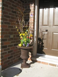 Urn Decorations For Spring Prepossessing Urn With Faux Forsythia Curly Willow Branches Grapevine Wreath Review
