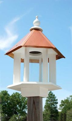 Crown your birding sanctuary with the Wing and A Prayer Azalea Bird Feeder with Hammered Copper Roof. This stately feeder combines a hopper feeder with the versatility of a platform feeder. Fill the reservoir with over two quarts of seed for your favorite songbirds. Place suet or fruit on the platform for more specific bird feeding. The ample platform offers plenty of perching room, and the six feeding ports allow several birds to dine at once.