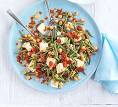 Bean, chickpea & feta salad- roast red peppers yourself and nix the sherry vinegar
