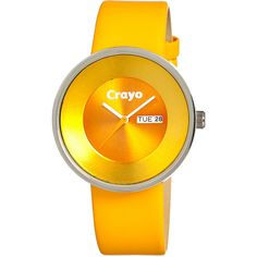 Crayo Button Women's ($45) ❤ liked on Polyvore featuring jewelry, watches, fashion accessories, yellow, leather strap watches, crayo, yellow watches, yellow jewelry and button jewelry