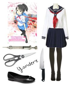 """""""Yandere Simulator"""" by missolivetree ❤ liked on Polyvore featuring Vince Camuto, Hue, Kershaw and WMF"""