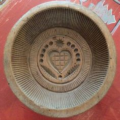 Antique Round Wood Butter Mold with Beautiful Heart Design