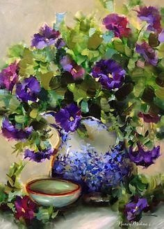Nancy Medina Art ~ Purple Potted Petunias, 12X16, oil on archival panel. www.nancymedina.com