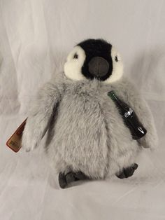 Coca Cola Penguin Boyds Bears Stuffed Animal Tags 919968 Plush Gray Black White #Boyds #cocacola
