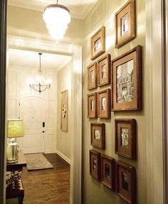"""Every home should have a """"WOW"""" entry way like this one! So clean and yet it still feels personal. Great work Michelle, another happy client! Foyer, Entryway, Easy Entry, Diy Wall Decor, Home Decor, Picture Wall, Framed Art, Feels, Frames"""