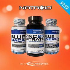 NOVITà >> #BLUE SERIES #Natroid << 3 alleati per IL TUO #BENESSERE: - BLUE MACA  - ZINC25 CITRATE  - BLUE ENERGY  Corri su #VitaminCenter! New Product, 3, Container, Blue