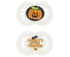 Spooky Halloween Pacifiers. Play dress up every day with these pumpkin pacifiers.