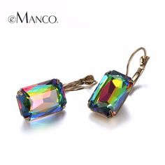 eManco 19 Color Hot Now Minimalist Geometric Lever-Back Dangle Drop Earrings for Women Blue Crystal Opal  Jewelry Accessories *** Visit the image link more details.