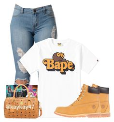 """""""Untitled #1172"""" by bubblesthegr8t ❤ liked on Polyvore featuring A BATHING APE and Timberland"""